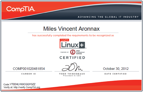 CompTIA Linux+ (Powered by LPI) Certificate for Miles Vincent Aronnax