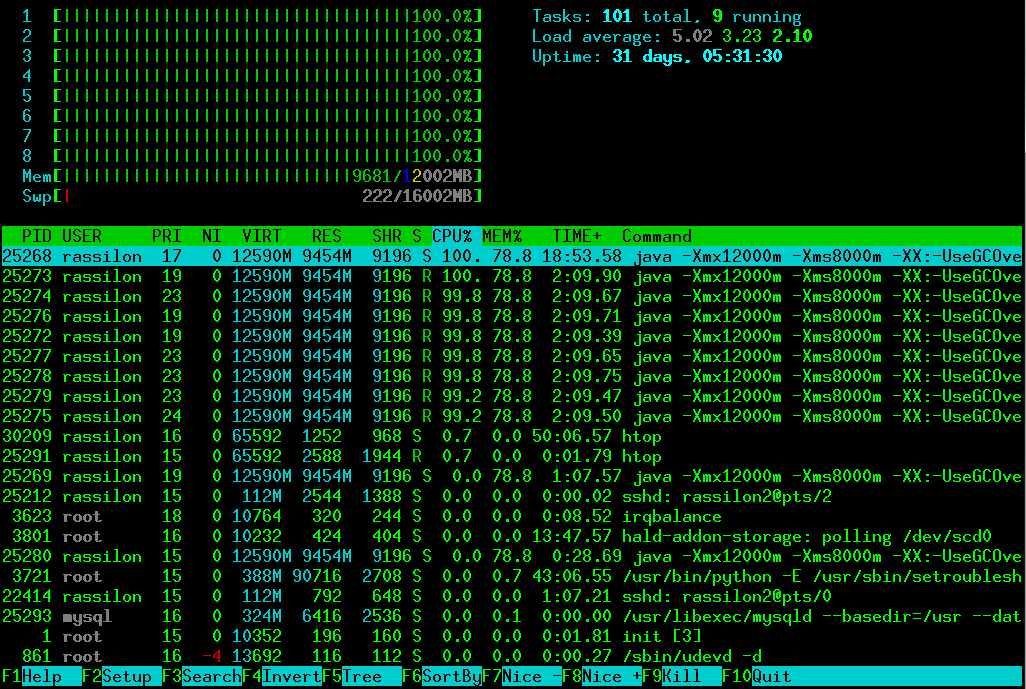 Image of htop showing machine usage thanks to bad coding.
