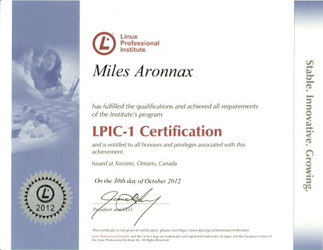 LPI Certificate (Level One) for Miles Vincent Aronnax