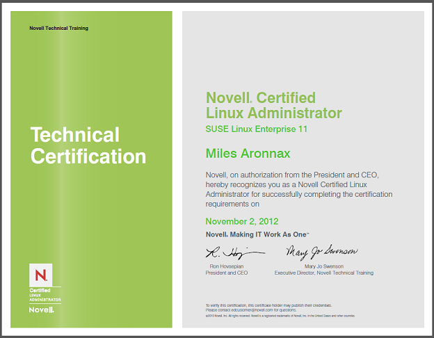 Novell Certified Linux Administrator Certificate for Miles Vincent Aronnax